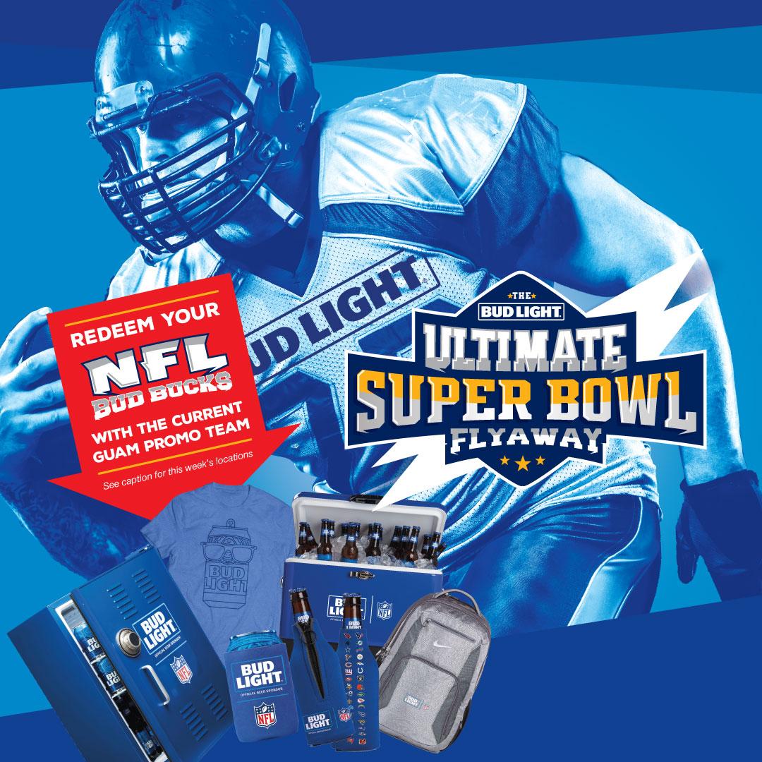 Bud Light Super Bowl Flyaway Redemptions 1/3-1/5
