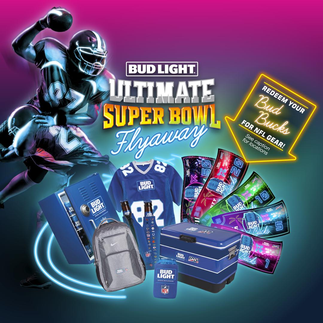 Bud Light Ultimate Super Bowl Flyaway Redemptions 1/6-1/11